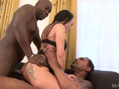 Lilith Virago gets a face full of cum after double anal leaves her gaping