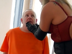 Smoking leather clad blonde Dominatrix in gloves and plus boots fet