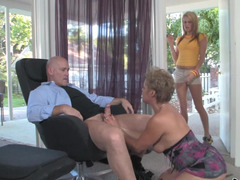 A sexy mom and furthermore daughter are giving bj big purple pole in a three-way