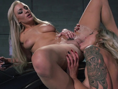 Undressed blondes in the garage getting down and furthermore dirty toys and furthermore cumming