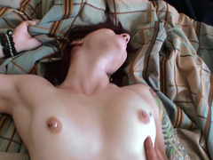 Naughty girl with pierced tits is getting banged and jizzed on