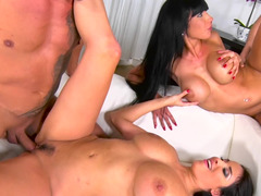Group orgy action after lesbian caresses in the bathroom