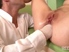 Pervy Brunette Nurse Gets Fisted Up Her Tight Pucker