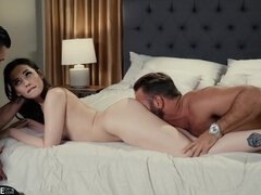 Aria Lee fucks and gives blowjob in hot cuckold action