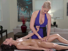 Ryan Keely gives her stepdaughter Emily Willis erotic massage