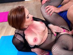 Hot redhead with short hair is giving head a dick & riding one also
