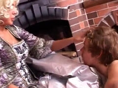 Medieval mistress punishing and pussy feeding slave
