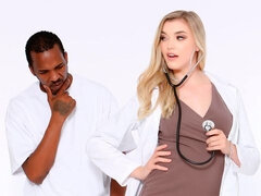 Blonde in stockings Anny Aurora destroyed by two big black cocks