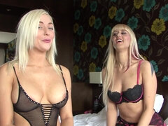 Two blondie dutch girls having some fun with toys