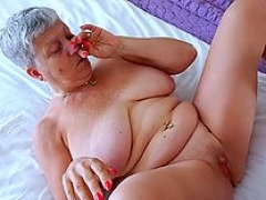 Fondling her sexy granny jugs and additionally fooling around