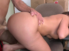 Latina takes her top and moreover furthermore panties off and moreover furthermore has a face cumshot in the backroom