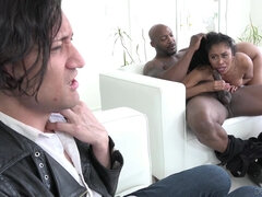 A wife Yasmine De Leon sucking BBC in front of her white husband