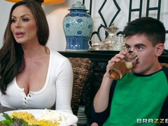 Lad stuffs brunette ass and pussy right after eating turkey