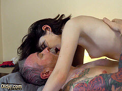 youthfull schoolgirl beauty with glasses romped hardcore by granddad