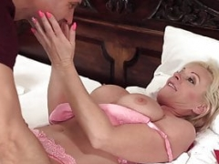 Old blonde sweetie gets cock stuffed deep inside her pink slit