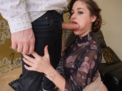 Cathy Heaven receives a mouthful of male stick