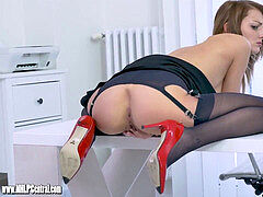 Office hoe taunts up microskirt nylons then panties off to wank