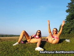 Perfect Girls Plays With Dildos Together In Nature