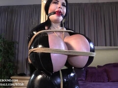 Femdom with super busty brunette pornstar - tied and gagged