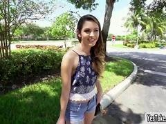 Innocent looking 18-19 year old Rayna Rose flashes titties in public