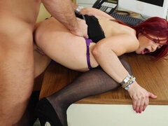 Redhead secretary pleases her boss in office