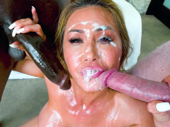 Kianna Dior gets facialed by the huge black and white cocks