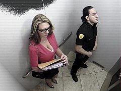 Breasty office girl giving head security guard in elevator