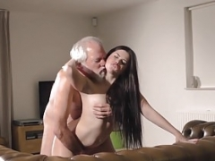 Teenage Interrupts Grandpa from Yoga And Sucks his Dick juicy