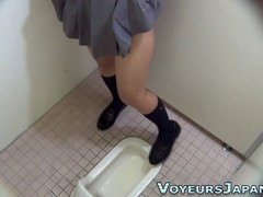 Undersized Japanese cutie loves to jerk off in the toilet