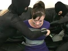 Burglars kilted up Milf and real hardcore orgy fucked her