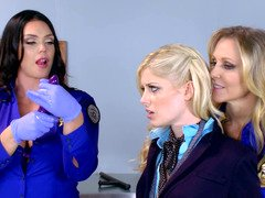 Three hot ladies are fucking each separate extra in the office scene