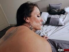 Bigtitted Milf bangs her juniors sizeable dick friend
