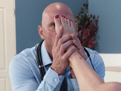 Olive Glass fucking with her doctor & doing a footjob for a load over her feet