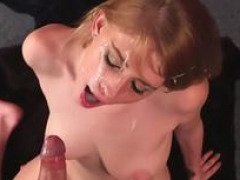 Frisky bombshell gets male orgasm on her face blowing off each and all the ejaculate