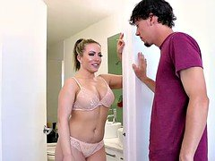Excited mom seducing and getting down and dirty her son