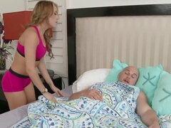 Morning workout ends with a sex session with cum on Marina Angel's pussy