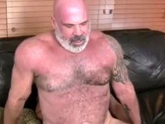 Underweight lad barebacks a huge hairy daddybear -1