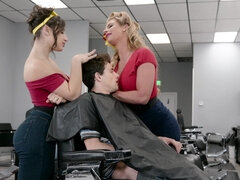 Abella Danger & Phoenix Marie share young hard dick in the barbershop