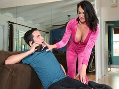 Sex-addicted chick with big boobs Reagan Foxx screwed from behind