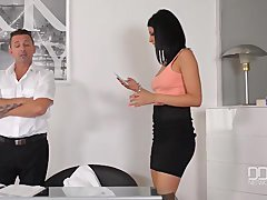 Office daydreamer gets down and dirty sexy secretary in the ass
