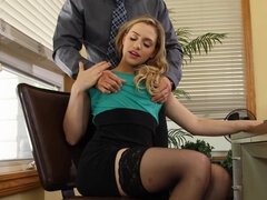 Flexible blonde got fucked in her office