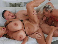 Kayla Kleevage and Minka know how to handle a threesome