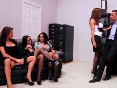Horny office ladies are fucking their boss