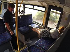 Sleepy broad woken and furthermore fucked hard in the bus