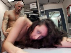 Sizeable tooshie brunette freak riding a huge dick with so much passion