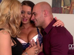 Time To Celebrate: Two Goddesses Get Laid By Boss