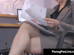 molten Office Temp Penny Pax remains Late to masturbate For You!