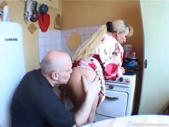 Chubby Daddy Licks His Wife's Pussy On The Kitchen
