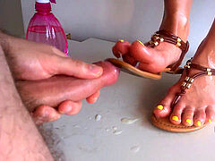 HandJoy * cumshot on handsome oiled with and sandals * demand by sneakercummer