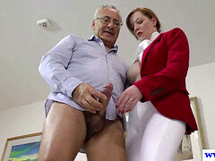 British amateur pussyfucked by an elderly mans rock hard man rod